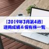 【株式】運用成績&保有株一覧(2019.3.22時点) 株主優待改悪の1銘柄を売却