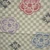 着物生地(125)市松に梅模様織り出し手織り真綿紬越後絵絣