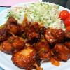 今日の晩飯 鶏のから揚げ ねぎとチリソース絡めを作ってみた