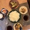 はんだ麺、じゃがいもなすネギ豚バラ炒め、買ってきた天ぷら