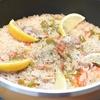 フライパンで簡単!トマトとピーマンのチキンパエリアの作り方・レシピ
