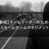 【仕事術】チームリーダーのための、スモールチームマネジメント