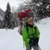 帰って来ました七回目の雪山水汲身から。二月になって雪質が重くなり、今日は背負子で。キツかった!