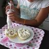 子供とケーキ作りをしました。