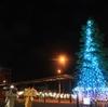 室蘭市 冬にともる東室蘭駅東口のイルミツリー