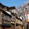 細い路地と桜と浅野川
