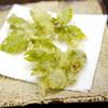 柿、食用菊、ヨモギの新芽を天婦羅で食べてみた
