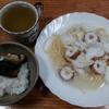 粥と塩鯖と春玉葱のスープパスタ