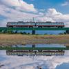 雨上がりの水鏡:富山地鉄本線