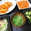 鶏むねのエビマヨ風、切り干しきんぴら、きゅうりの梅昆布、キャベツスープ