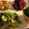 ✴︎苦味爽やか:栗とブロッコリーの茎と縮緬キャベツのレモン練り胡麻和え(覚書き)、ひよこ豆と高野豆腐の煮物、縮緬キャベツで紅鮭の包み椀、焼き鰯、サーモンスキン