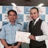 青色パトロールカー、高槻警察署長からの防犯パトロール委嘱式