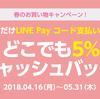 【~5/31】LINE Pay コード決済で5%のLINEポイントバック【ローソン等】