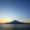 朝陽と桜島。