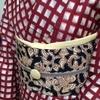 【着物コーディネート帖】格子柄の銘仙着物に唐花模様の半幅帯を合わせてみる。