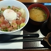 びん長天身の漬け丼半熟卵のせ(外食)