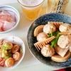 たけのこと鶏だんごのしょうが煮、やりいかのオイマヨ炒めで晩酌