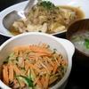鶏むね玉ねぎ、春雨サラダ、大根スープ