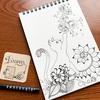 【Zentangle】猫と花のゼンタングル