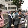 25日、山添拓参院議員、高橋ちづ子衆院議員を弁士に街頭演説に500人を超す聴衆。