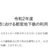 #725 大江戸線の年末年始の利用客は前年比54%マイナス
