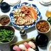 越前ガニ、お寿司などで晩酌(実家)