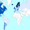 海外のBABYMETALのファンが人口あたりのBABYMETAL公式MV視聴数を世界地図にしたもの