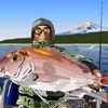 友人が海釣りであげた鯛をエクセルで描いてみた(釣り人はおまけ)