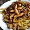 台湾風豚肉とニンニクの芽のスパゲッティ