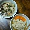 鶏肉とピーマン、なすの炒め煮と高野豆腐