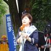 参議院選挙公示ー水野さち子候補出陣第一声、福島市アオウゼ前