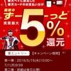 楽天ペイが5%還元キャンペーン中(〜7/1 9:59)