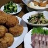 給食のキャベツメンチと色々おつまみ☆