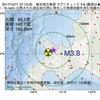 2017年10月11日 07時15分 後志地方東部でM3.8の地震