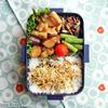 #677 揚げ鶏とサツマイモの甘辛弁当