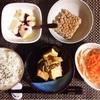 厚揚げとしめじの炒め物、もやしサラダ、小粒納豆、バナナヨーグルト。