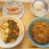 鯖カレー、厚揚げ豆腐と豚肉炒め、ウィンナー、茹で卵
