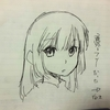 ふと思い立って、→向きの顔の絵を描いてみた~からの色紙絵(下描きからペン入れ編)