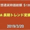 【カルダノ週足 25MA にローソクタッチ】2019/3/20 仮想通貨時価総額15兆7000億 ドル111円なかば