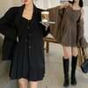 2点セット テーラードジャケット + キャミワンピース プリーツ 韓国ファッション レディース