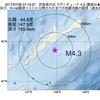 2017年07月28日 07時16分 択捉島付近でM4.3の地震