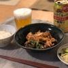 ごはん、肉豆腐、きゅうりとキャベツと大葉の浅漬け