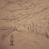 5分風景デッサン習作「川沿いの桜並木」「階段」