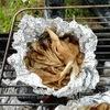 BBQに舞茸醤油バターのアルミホイル包み焼き