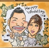 友人への結婚祝いの似顔絵ウェルカムボード