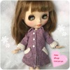 リカちゃん ブライスのお洋服 紫ツイードのgirlyコート完成♡