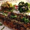 ✴︎鯖のグリル、アインコルンとレンズ豆煮(覚書き)、ラディッシュの葉のにんにく炒めタヒニソースかけ、
