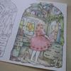 完成】色辞典色鉛筆で『鏡の前でおめかし中』ページが塗りあがりました☆森の少女の物語より