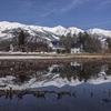 【長野県白馬村】田んぼの水たまりに映る北アルプス(白馬三山)の水鏡