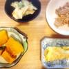 豚肉とエリンギ、かぼちゃ煮物、枝豆かき揚げ、玉子焼き